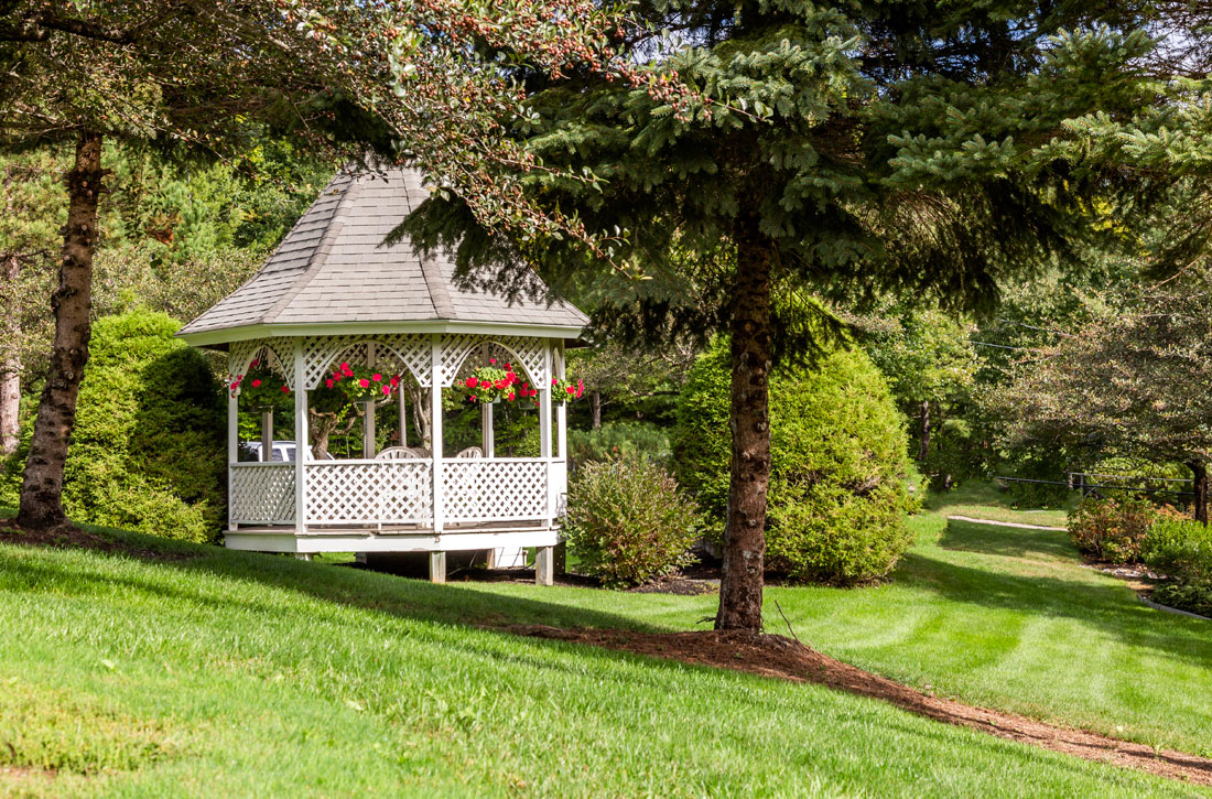Beautifully landscaped grounds at The Ridges apartments